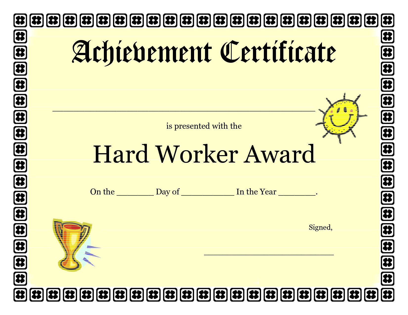 Printable Achievement Certificates Kids