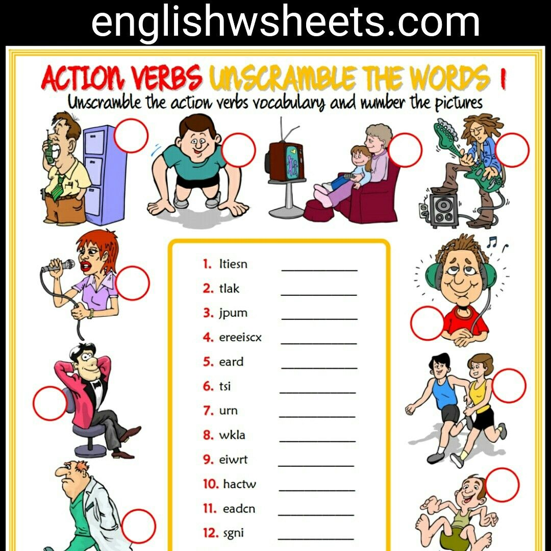 Action Verbs Esl Printable Unscramble The Words Worksheets For Kids Action Verbs Actionverbs