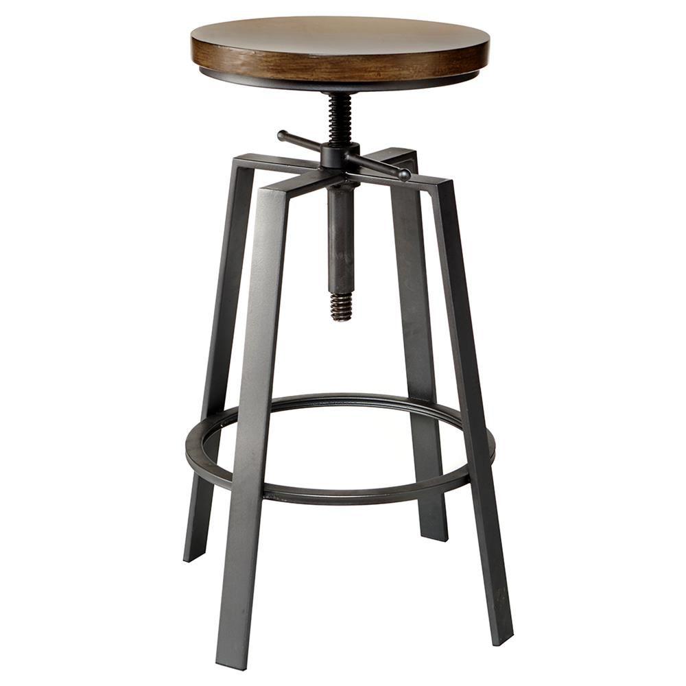 Pine Wood Adjustable Bar Stool  Bar stool Stools and Pine