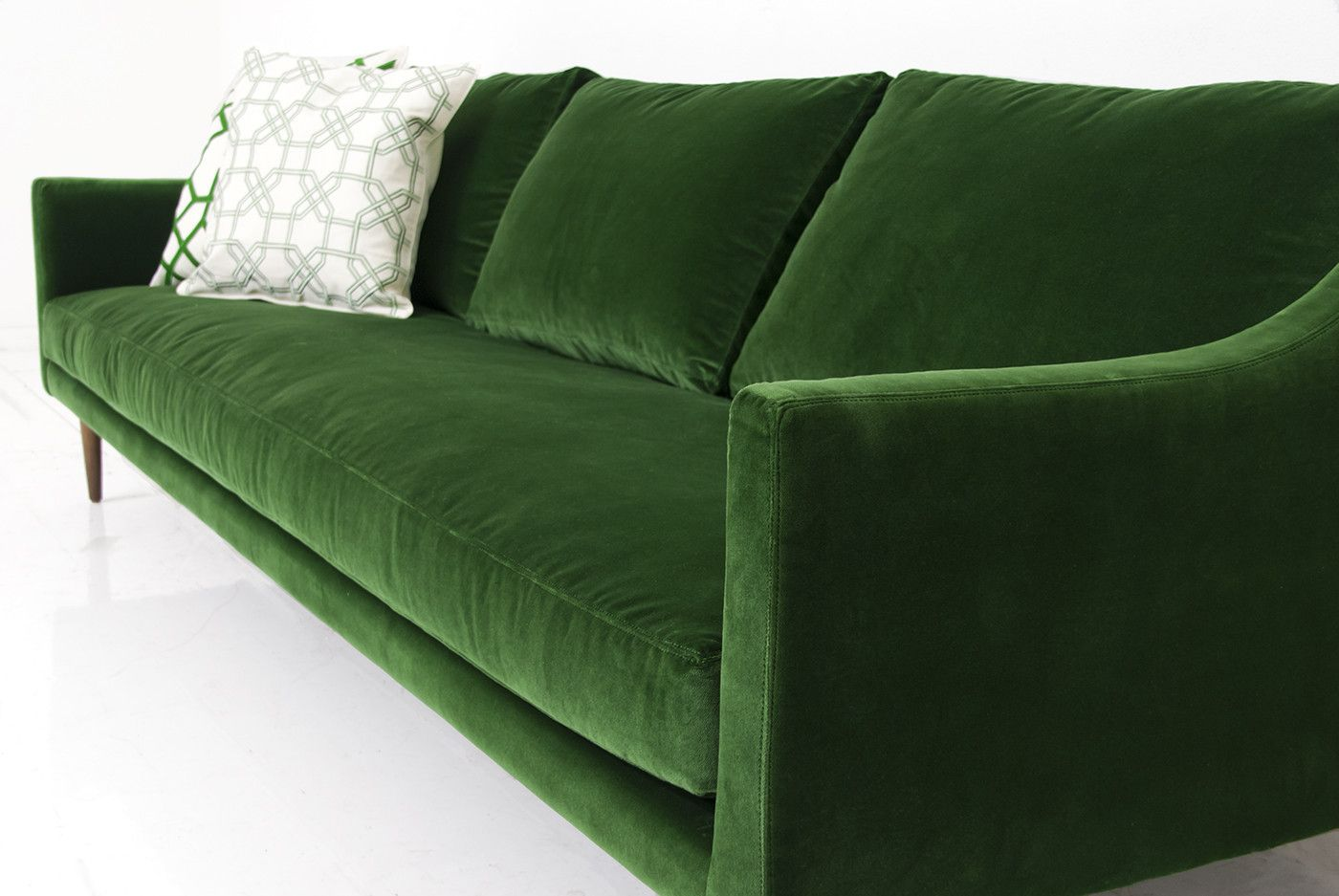 sofa bed green velvet italian leather wood frame naples in emerald new house ideas