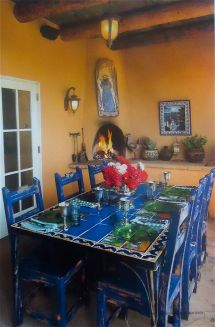 Hacienda Style Porch With Blue Tile Table