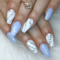 blue gel and marble nails #marblenails #coffinnails | Nail ...