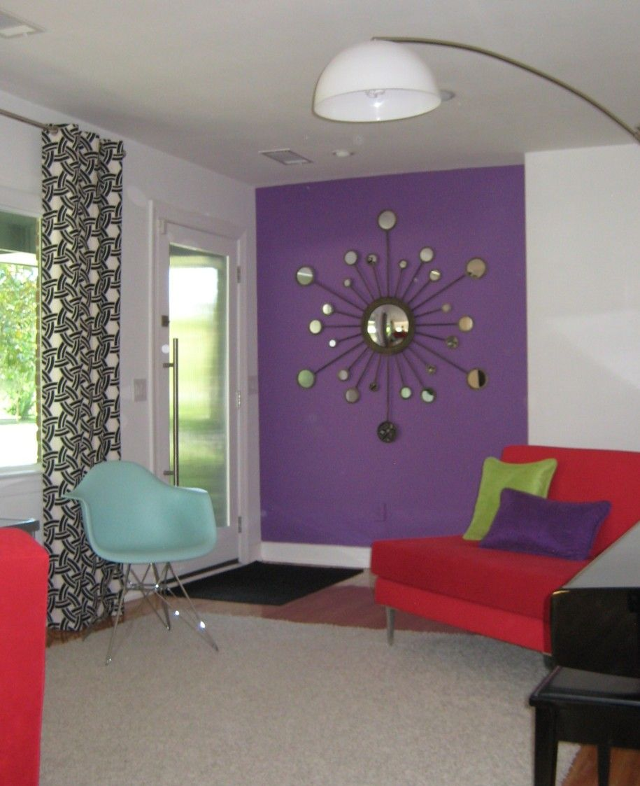 Interesting Decorating With Lavender Color Walls With Red