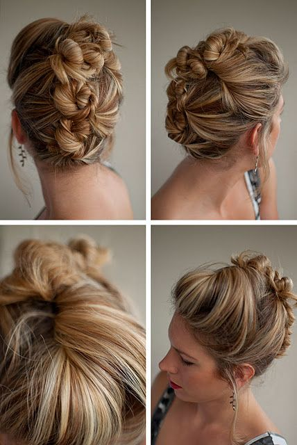 Cool Casual Bun Updo Bun Mohawk Updo Twists And Second Day Hair