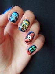 spongebob and friends nail art design
