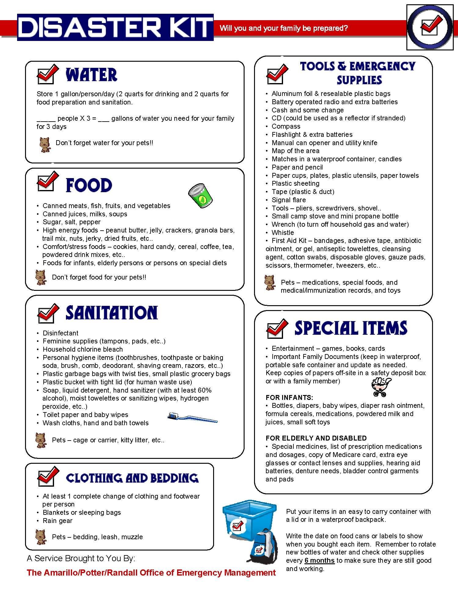 Disaster Preparedness List