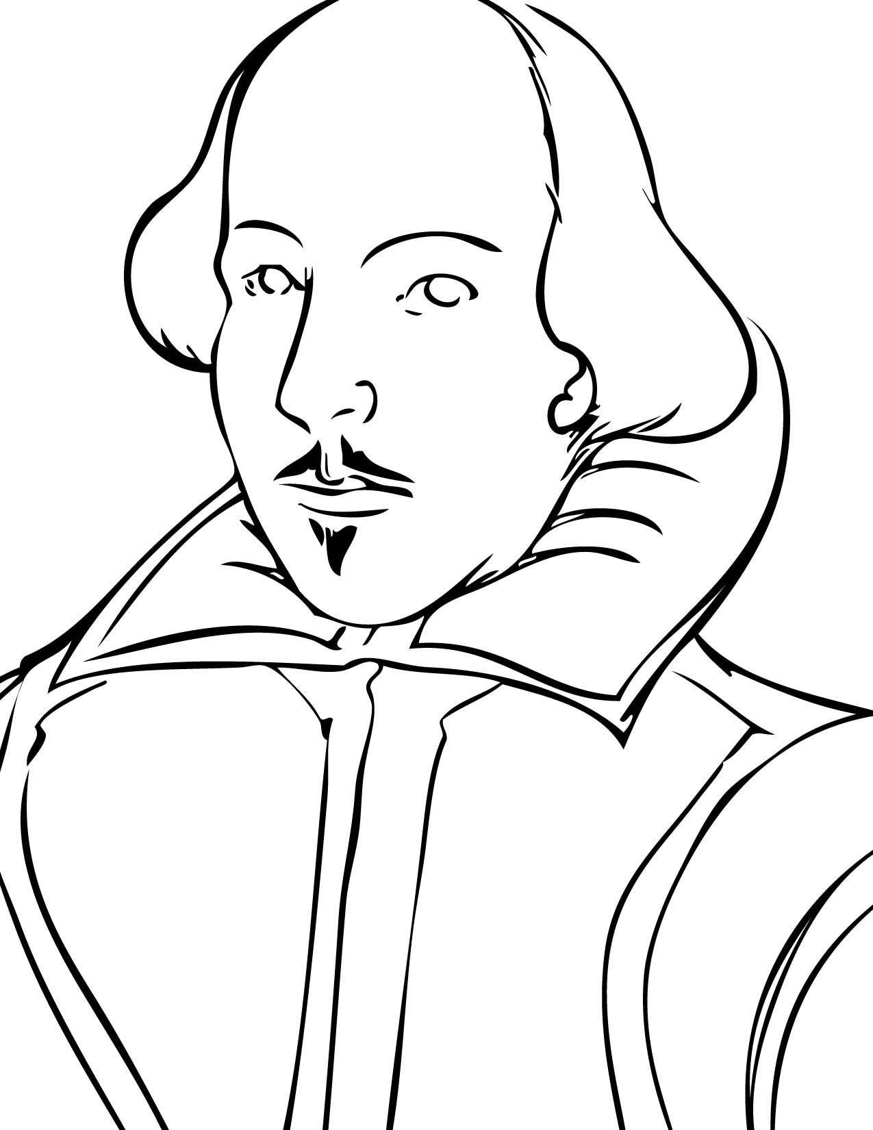 Good Coloring Page Of Shakespeare S Face If You Have To Do A Project Or Report Of Some Kind