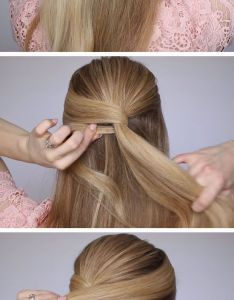 Pretty low bun quick diy prom hairstyles for medium hair and easy homecoming long mariage et coiffure pinterest also rh