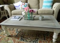 My $15 thrift store pine coffee table, chalk painted and ...
