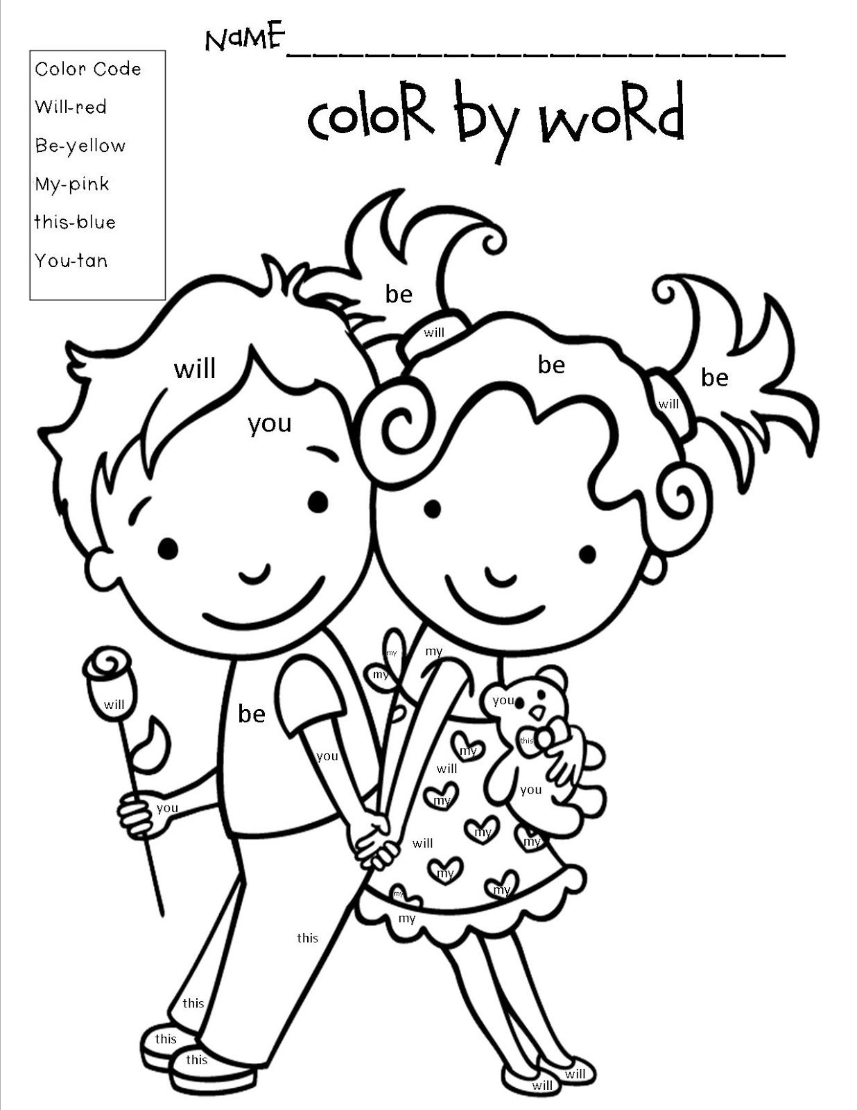 Valentine S Day Color By Word Freebie Mrs Bohaty S Kindergarten Kingdom February