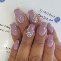 Shellac nail, coffin shape with rhinestone design by Linh
