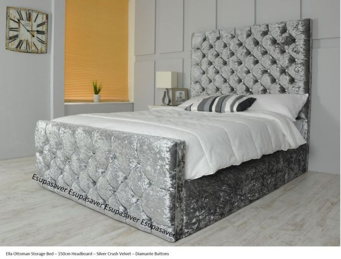 Ella Ottoman Storage Bed Upholstered In Chenille Or Crushed Velvet Made Uk Home