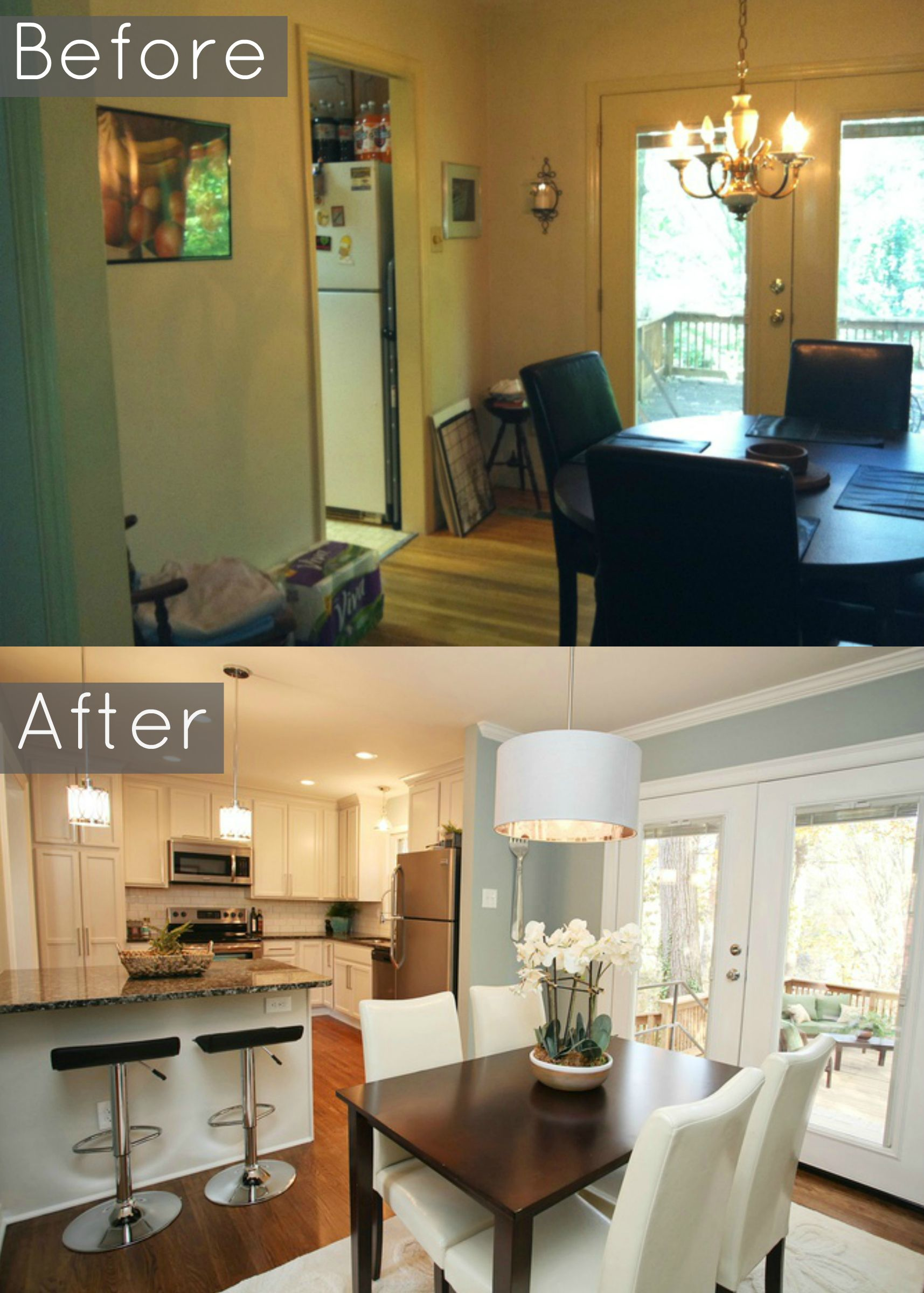 remodeling open kitchen living room table and bench opening walls between rooms transforms spaces