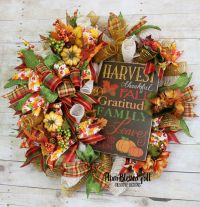 Fall Front Door Wreath, Fall Welcome Wreath, Fall Deco ...