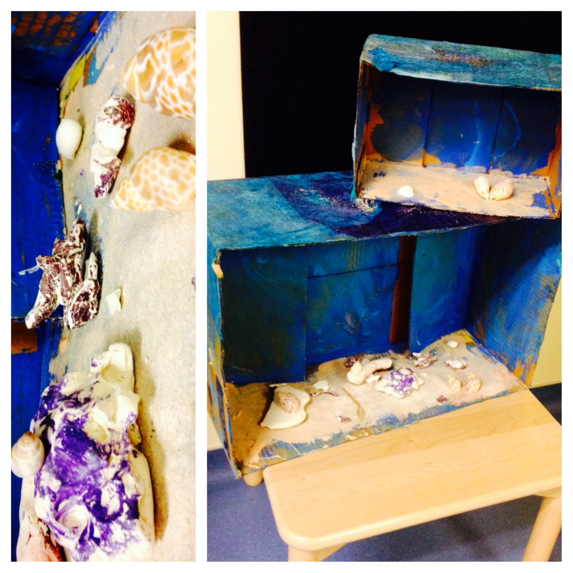 The Preschoolers Constructed An Underwater Water Ocean Scene By Painting Boxes And Molding Clay