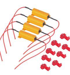4pcs alloy auto car vehicle professional 50w load resistor 6ohm fix led bulb fast hyper flash [ 1000 x 1000 Pixel ]