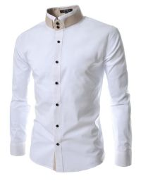 TheLees Mens unique double collar shirts at Amazon Mens ...