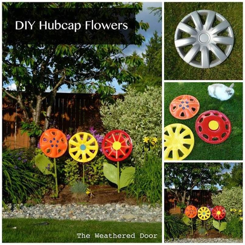 Creative Ideas DIY Hubcap Flower Garden Decor Craft