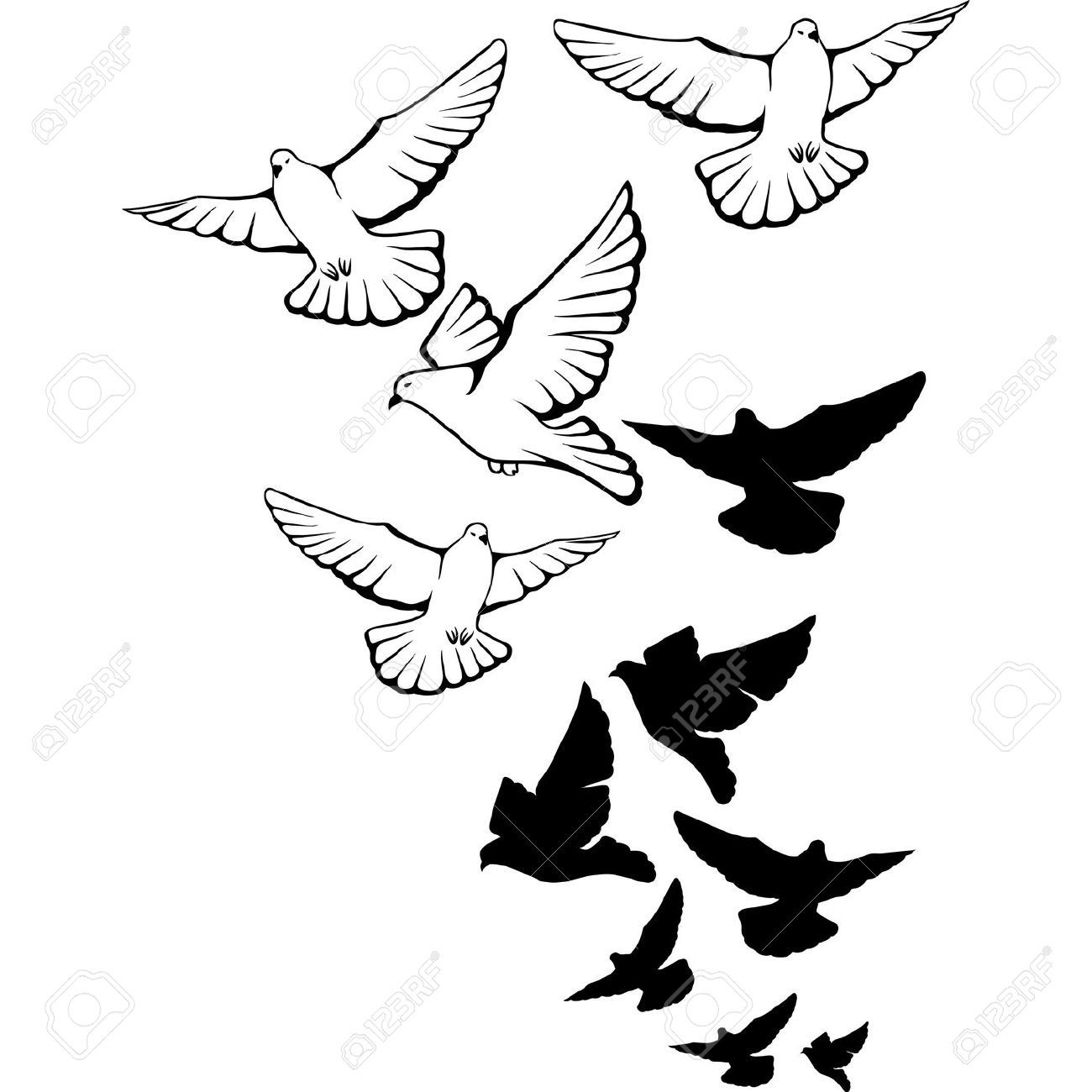 Birds Flying Clipart Black And