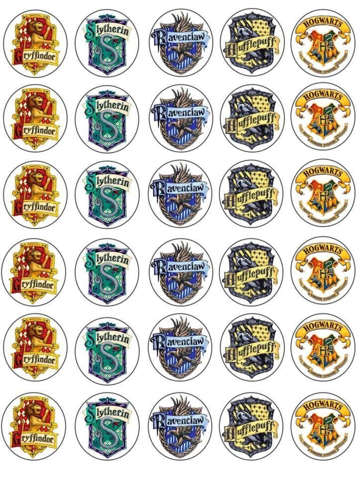 30 Harry Potter Houses Crests Gryffindor Birthday Edible