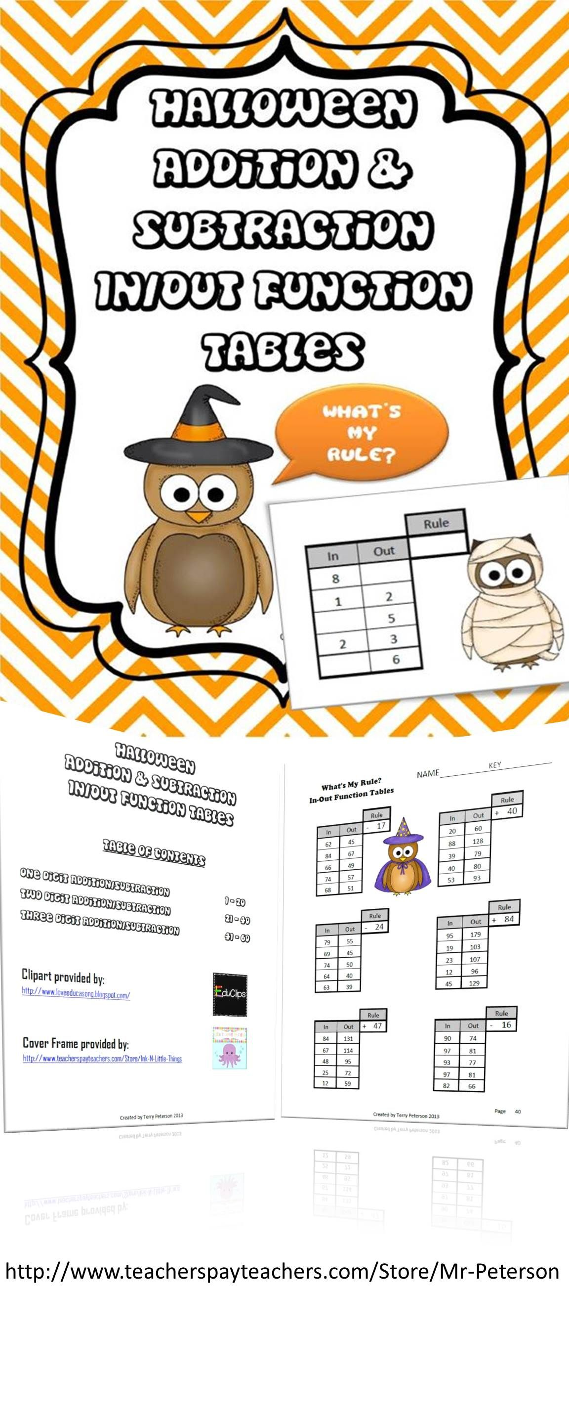 Common Core Halloween Addition Subtraction Function Tables