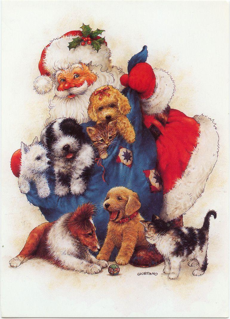 Santa With A Bag Of Pups And Kitties Cute Christmas