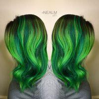 Neon green emerald green hair rainbow hair mermaid hair ...