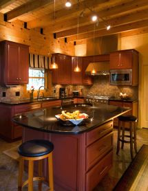 Timber Frame Beam Ceiling Custom Cherry Cabinets And