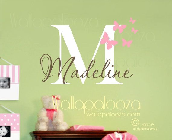 Girl   name wall decal butterfly decals nursery decor personalized vinyl art also rh pinterest