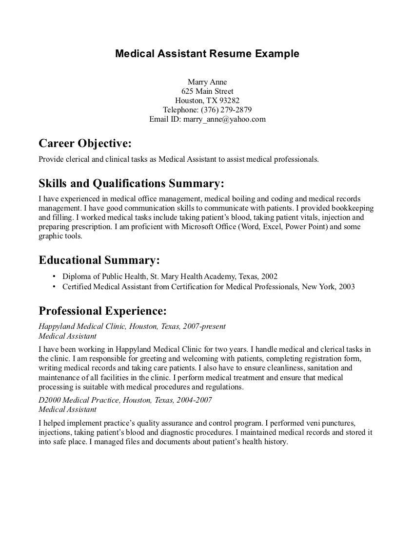 Medical Assistant Resume Graduate 903  httptopresume