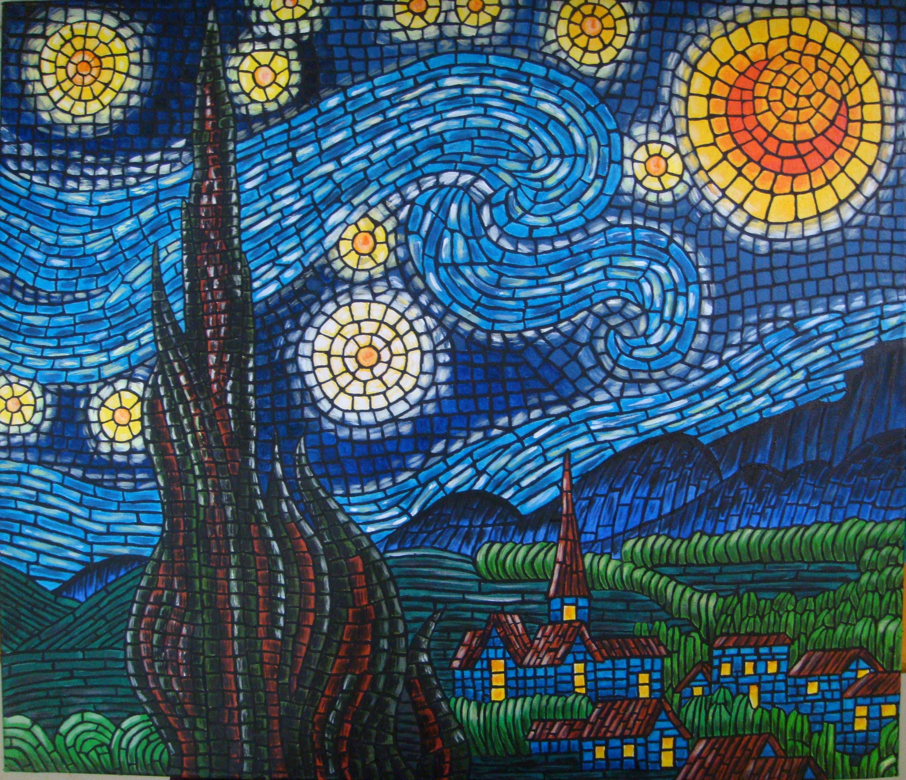 Vincent Van Gogh:Starry Night:Mosaic effect Medium