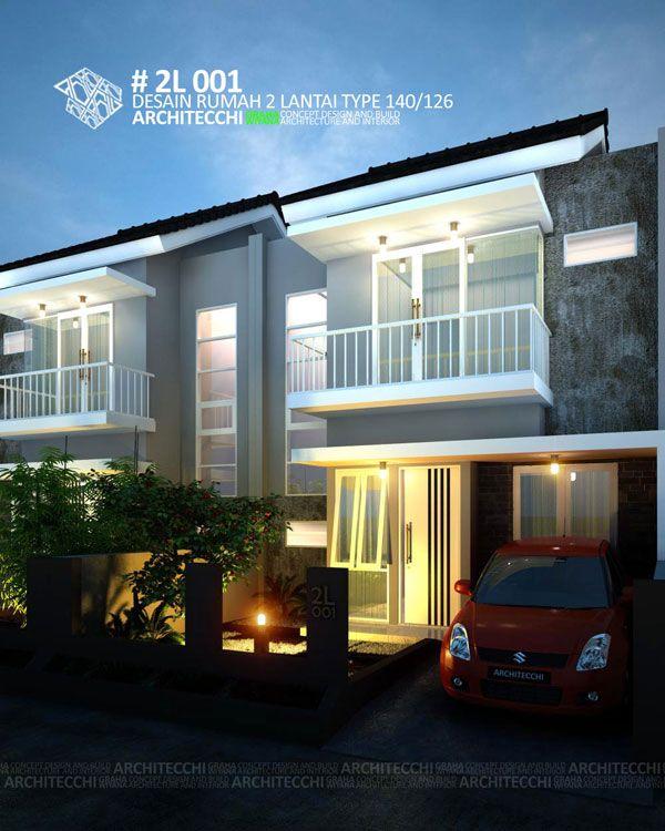 Desain rumah 2 lantai dengan konsep minimalis ini memiliki space antara lain  carport teras