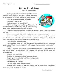Back to School Blues | Reading comprehension | Pinterest ...