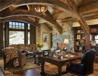 Love the arches and stone! Open Country/Rustic Home Office