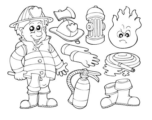 Pictures Fireman And Tools That Should Be Prepare Coloring