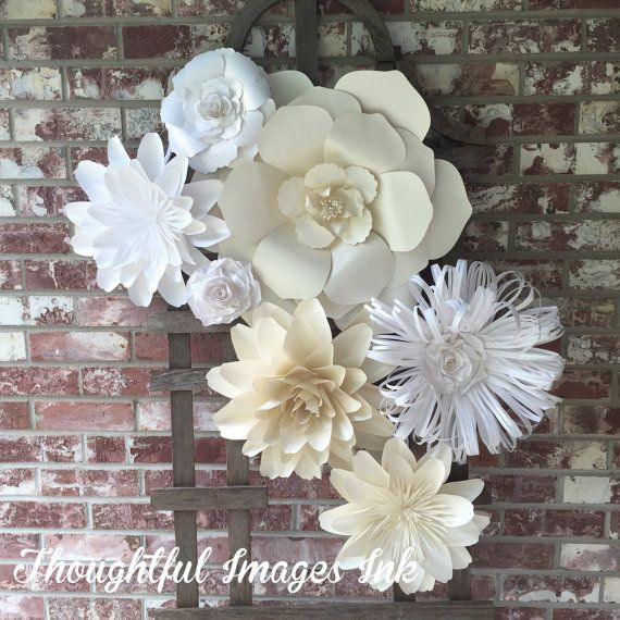 Large paper flowers in white and cream wedding flower backdrop bridal shower nursery office  bedroom decor removable wall art also rh za pinterest