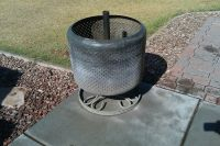 Washing machine tub fire pit. We are on our 3 tub....we ...