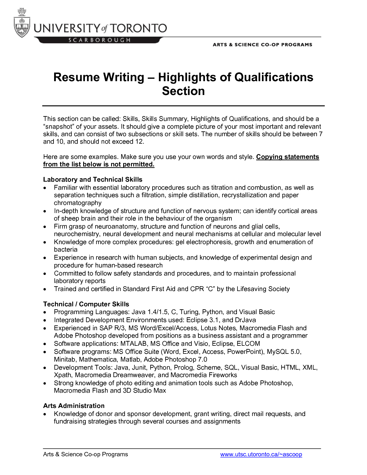 Computer Skills Qualifications Resume Resumecareer