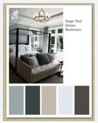 Color scheme for master bedroom. Gray on walls. Teal ...