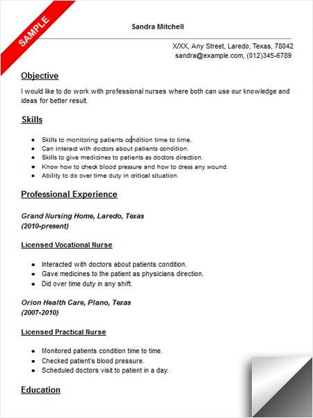Licensed Vocational Nurse LVN Resume Sample Resume Examples