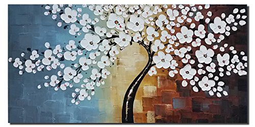 wieco art blooming life extra large modern stretched and framed white flowers artwork hand painted