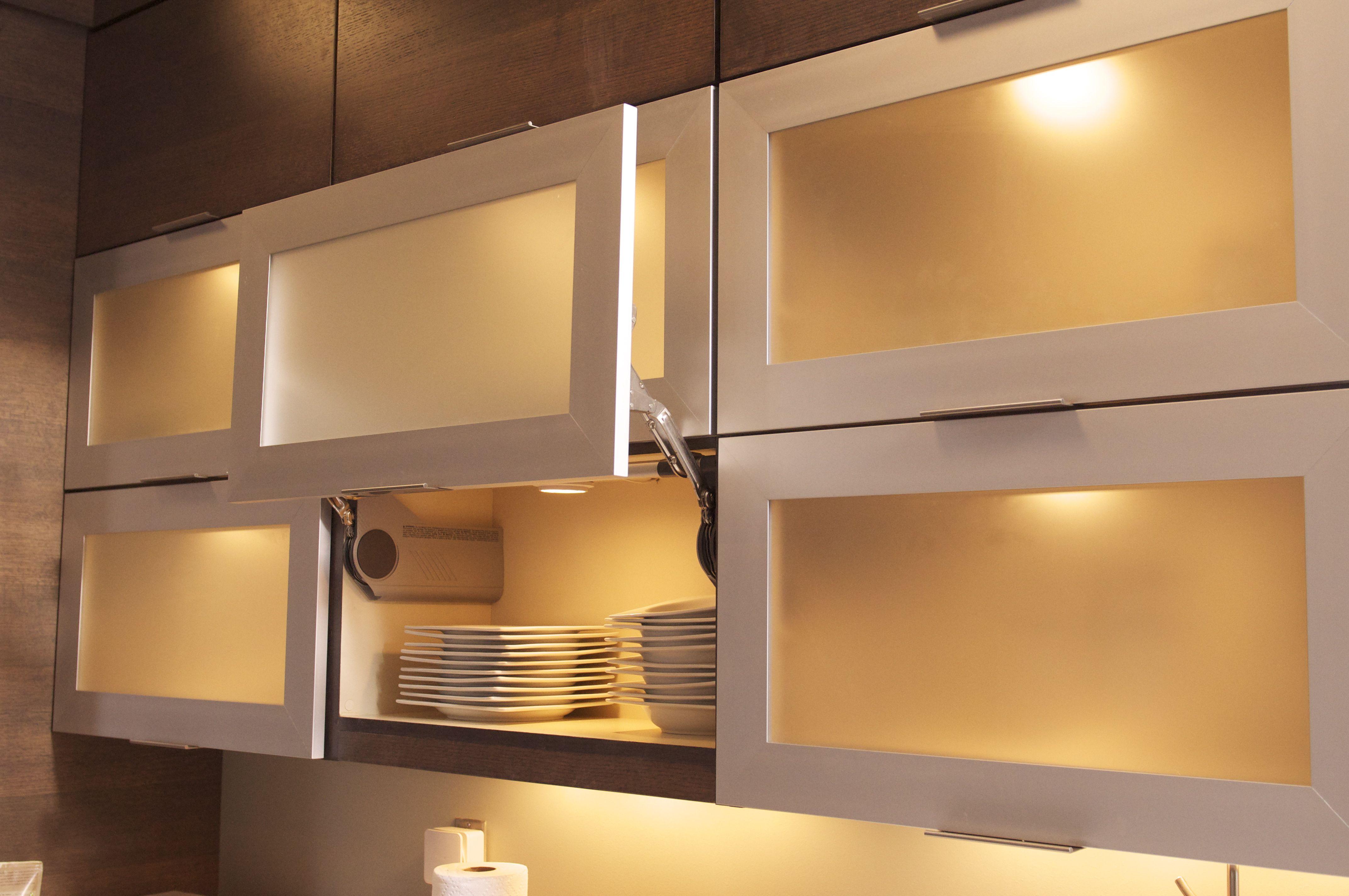 Aluminum cabinet doors with Blum Aventos HL Hinges which