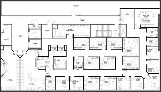 Sample 5 physician floor plan at Medical Pavilion South