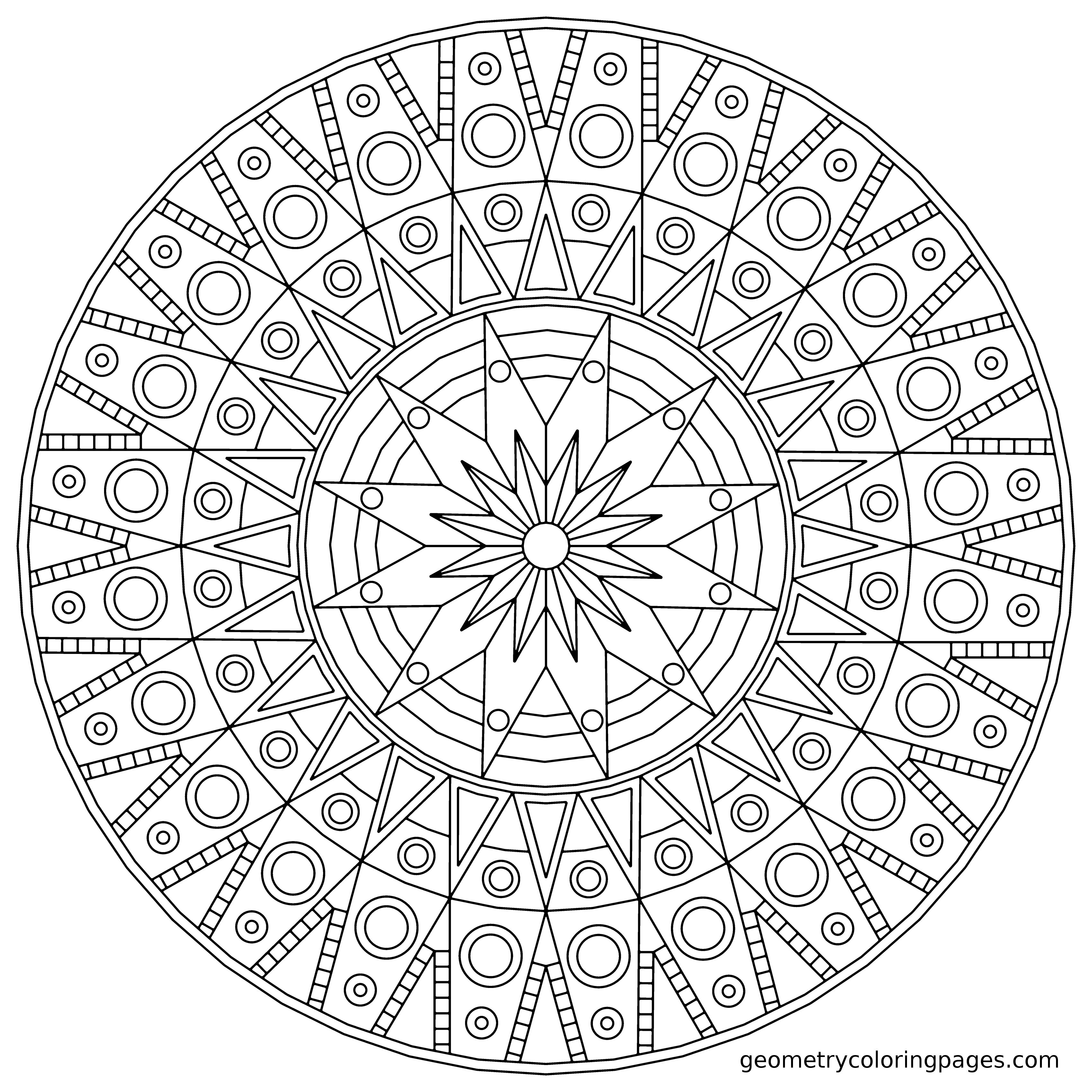Mandala Coloring Page Sundial From Geometrycoloringpages