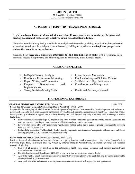 automotive resume examples - Example Professional Resumes