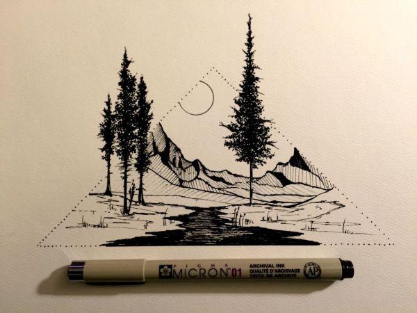 Simple Mountain Drawing Tattoo