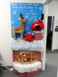 Door decorating contest for Christmas.