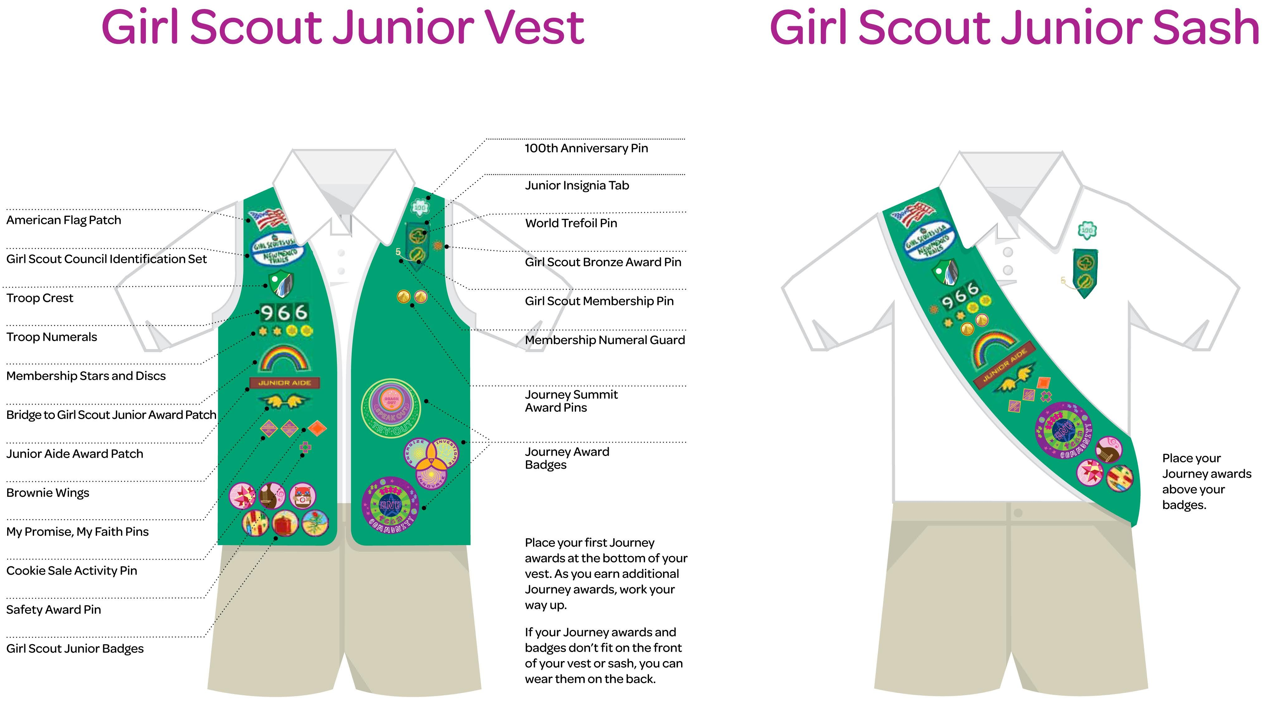 brownie sash diagram 2005 acura tl speaker wiring junior girl scout vest and layout girls scouts