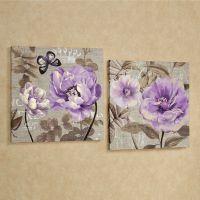 Floral Delight Purple Flower Canvas Wall Art Set | Wall ...