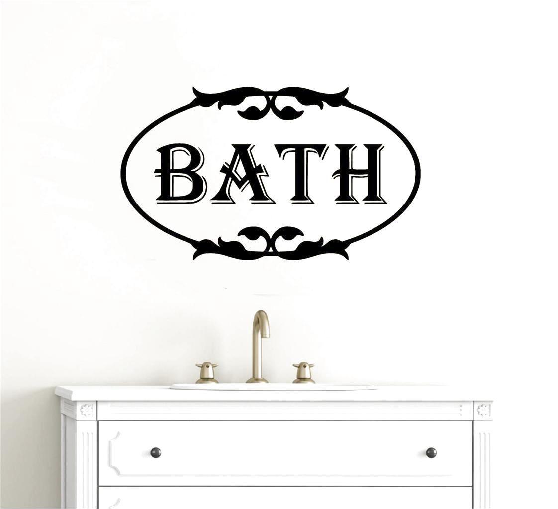 Bathroom wall decor vinyl decal sticker words lettering art scroll also rh pinterest
